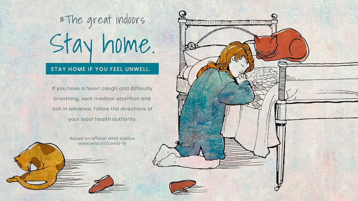 Little girl staying home praying illustration psd mockup banner and WHO's advice on self isolatation