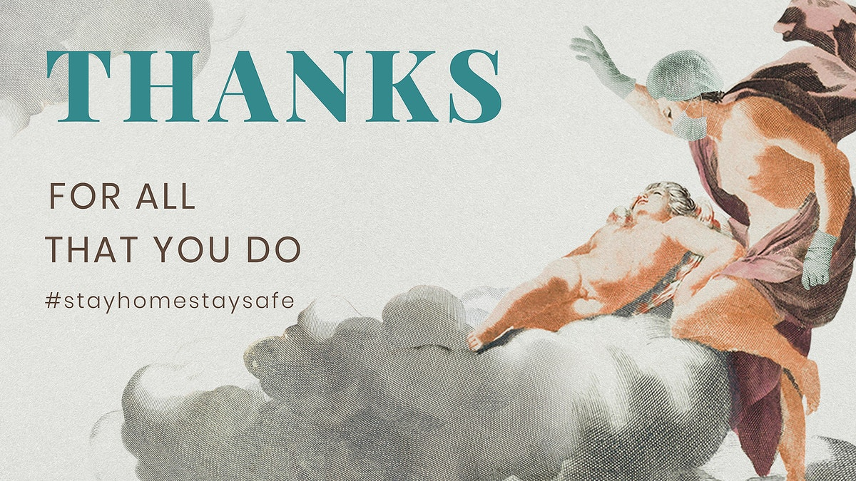 Thanks to medical workers during COVID-19 pandemic ancient Greek painting remix illustration vectorbanner