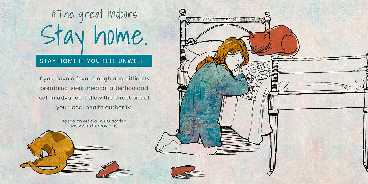 Little girl staying home praying illustration vector banner and WHO's advice on self isolatation