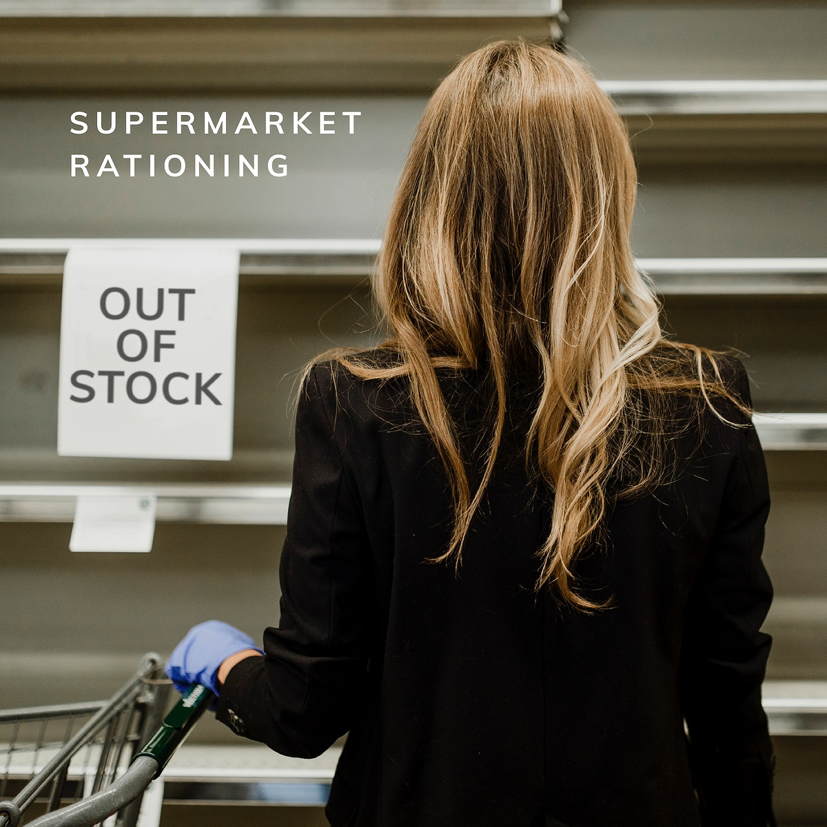 Emptied shelves due to panic buying at a supermarket