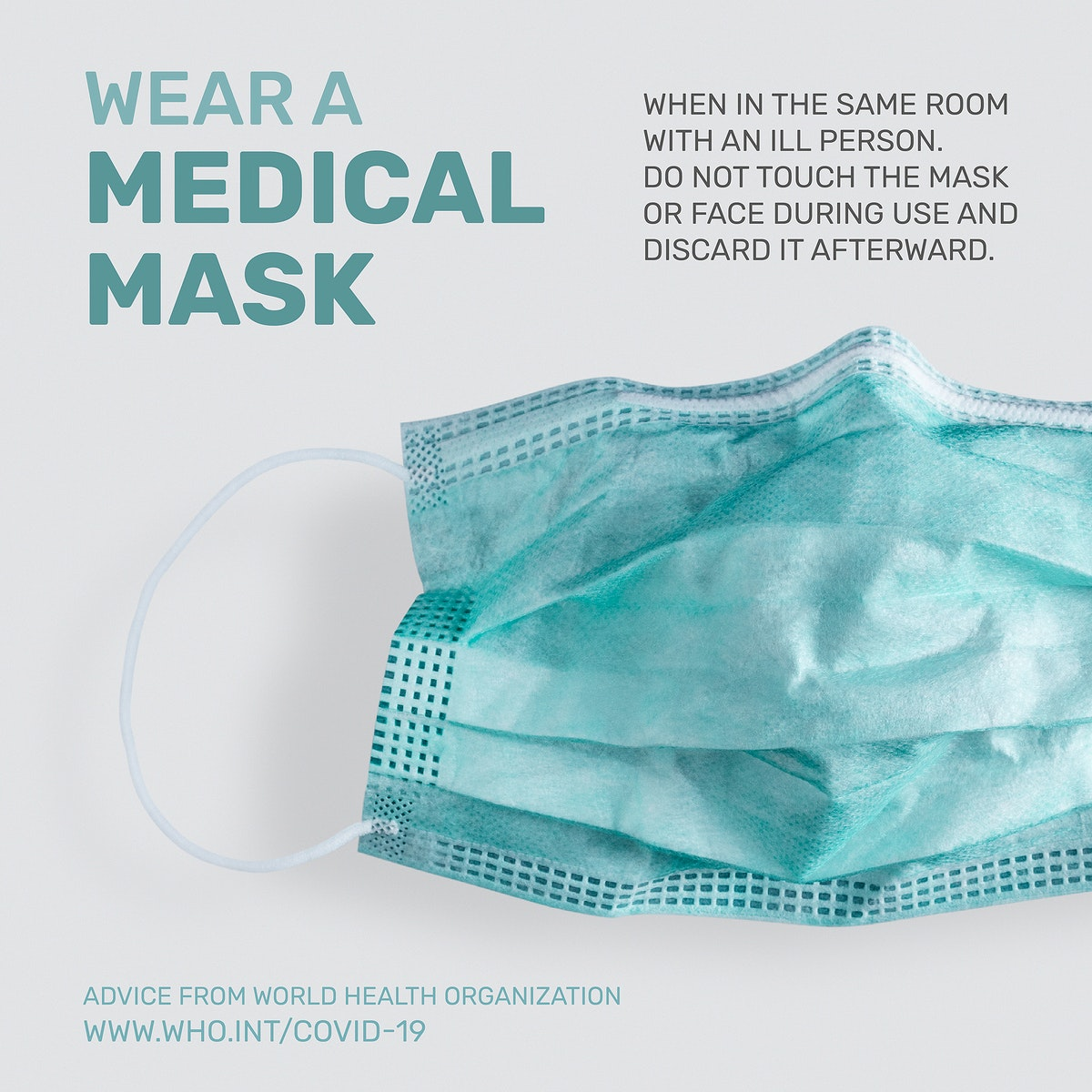 Wear a mask COVID-19 pandemic advice by WHO vector social ad