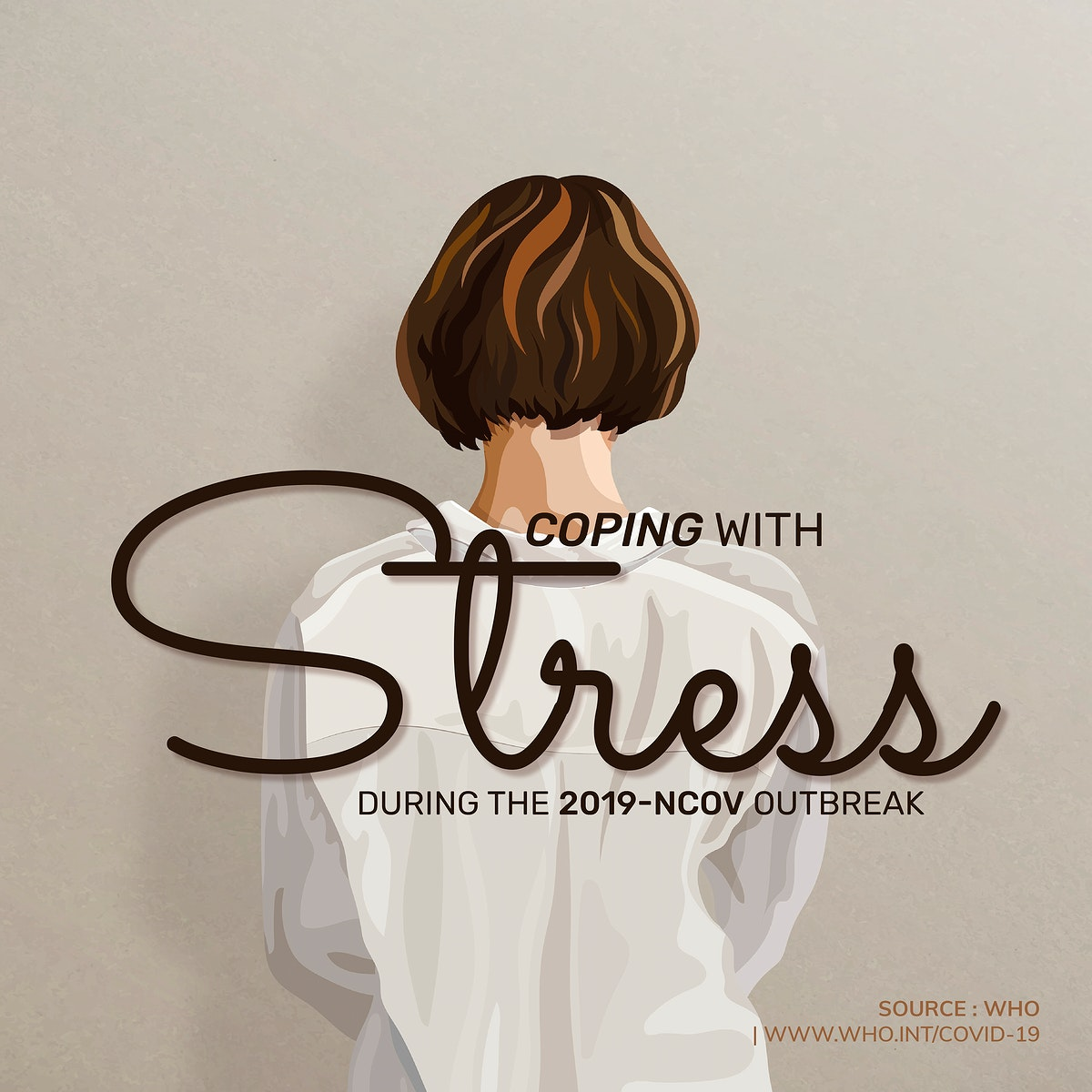 Coping with stress during the COVID-19 pandemic for mental health wellbeing illustration vector