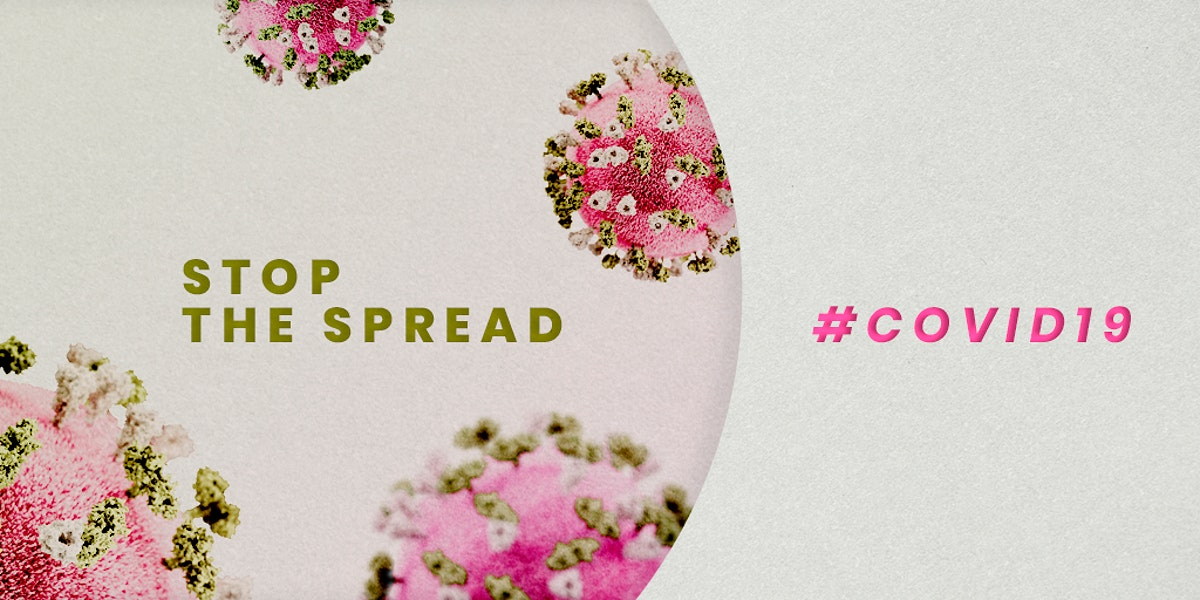 Stop the spread COVID-19 psd mockup banner with pink and green novel coronavirus illustration