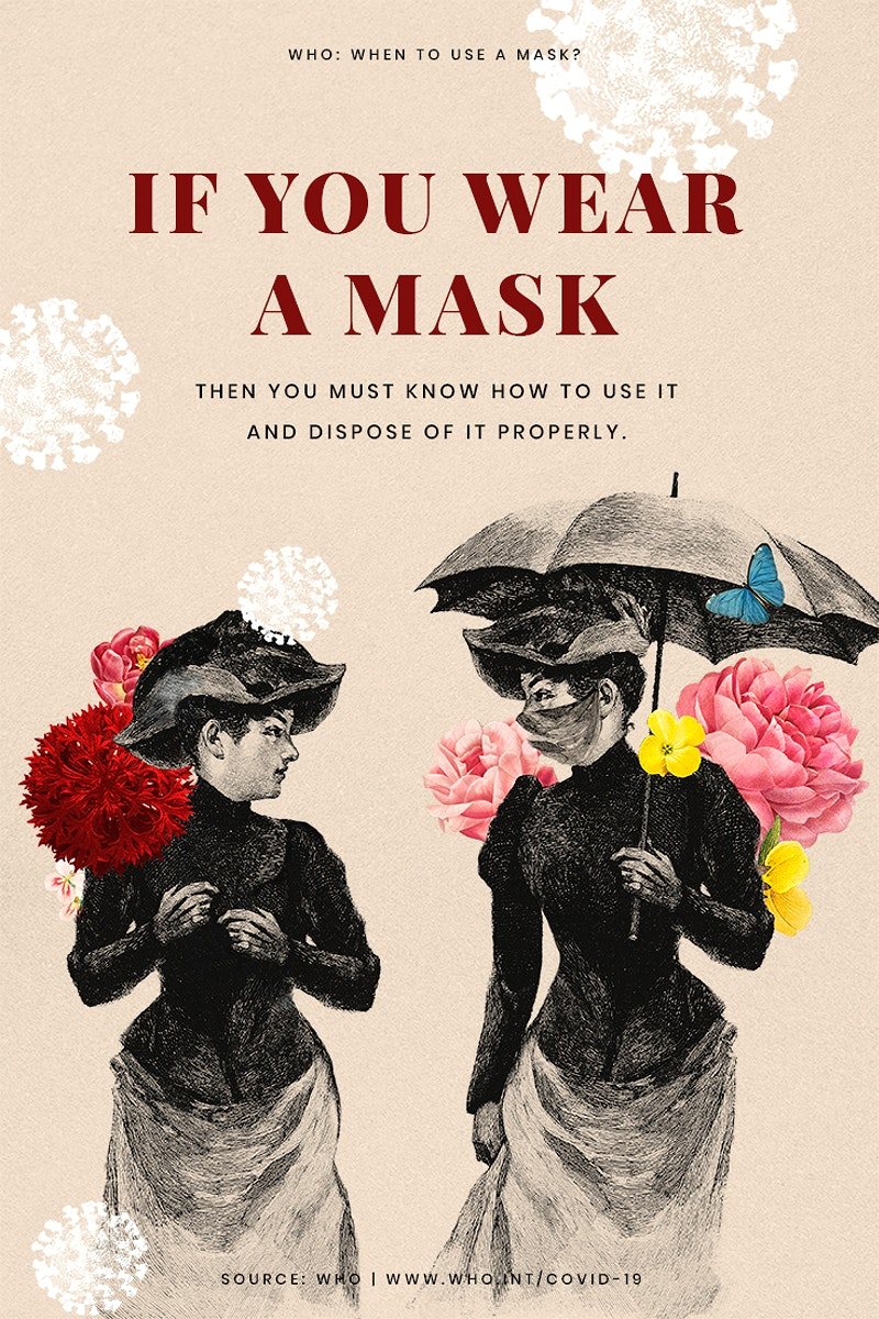 Advice on proper ways to wear a mask provided by WHO and vinatage illustration psd mockup poster