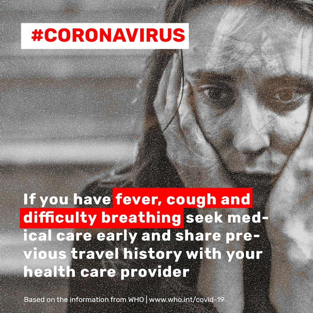 Coronavirus symptom advice social template source WHO