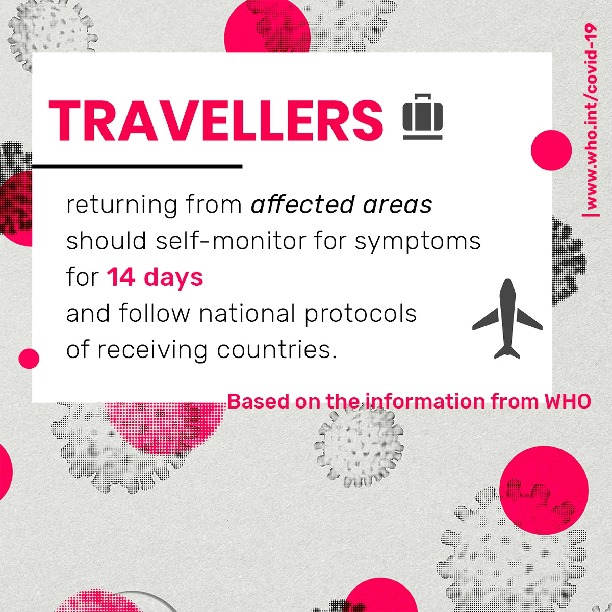 Abroad traveller returning from affected areas should self-monitor for symptoms for 14 days social template source WHO