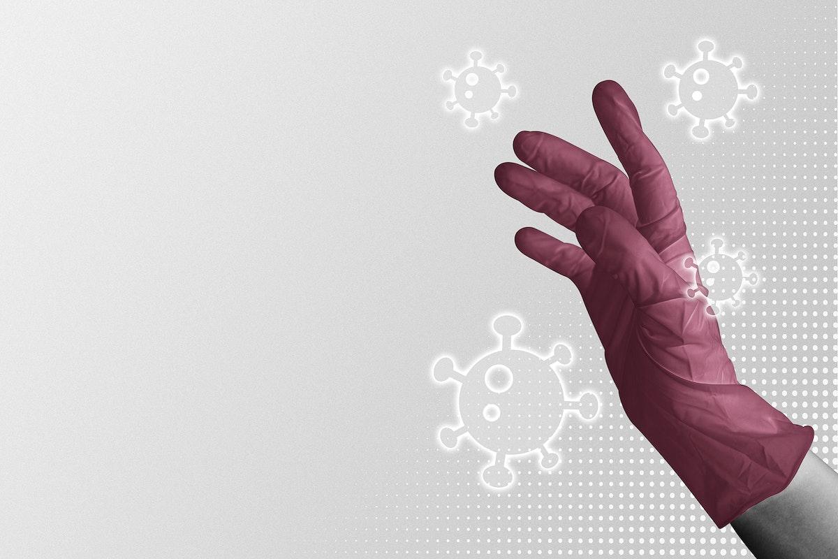 Latex glove to prevent coronavirus contamination mockup