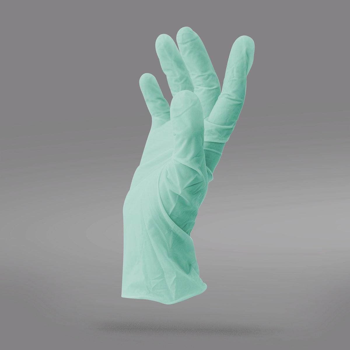 Green latex glove to prevent coronavirus contamination mockup