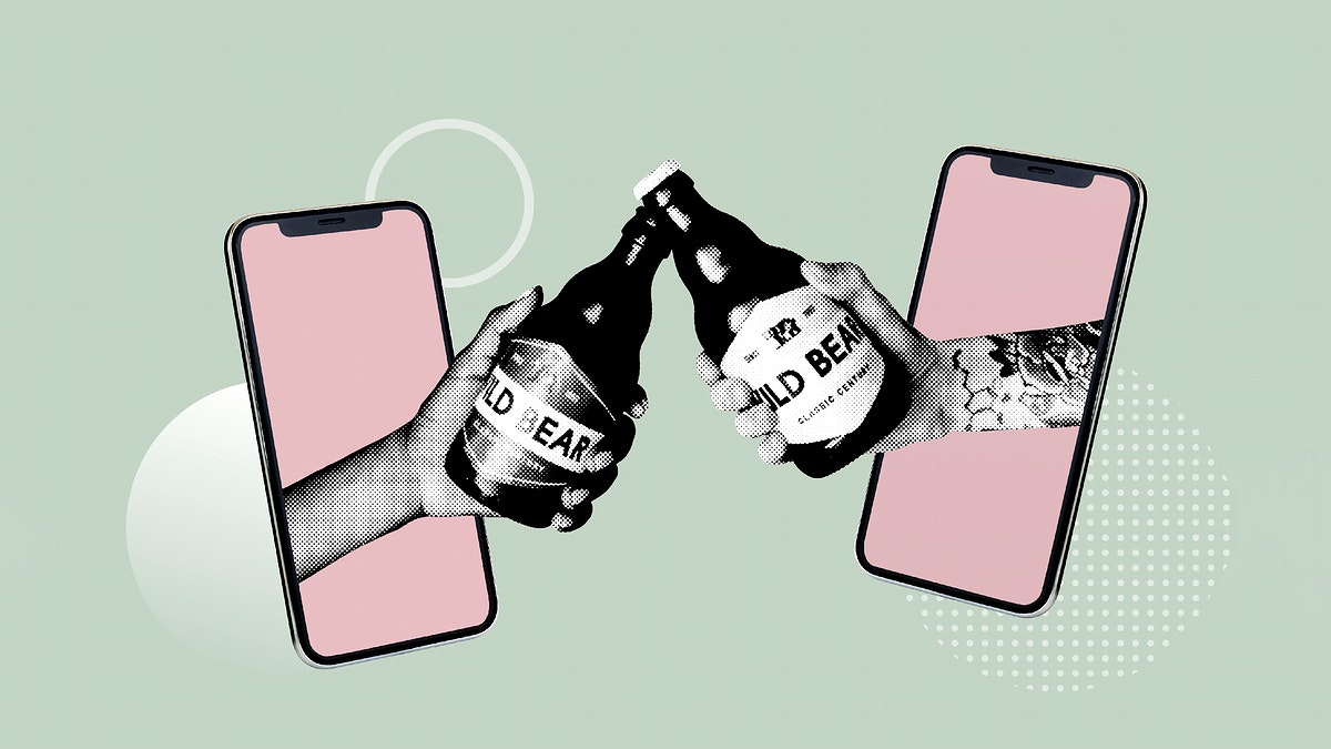 Clinking beer bottles with a social distancing mockup