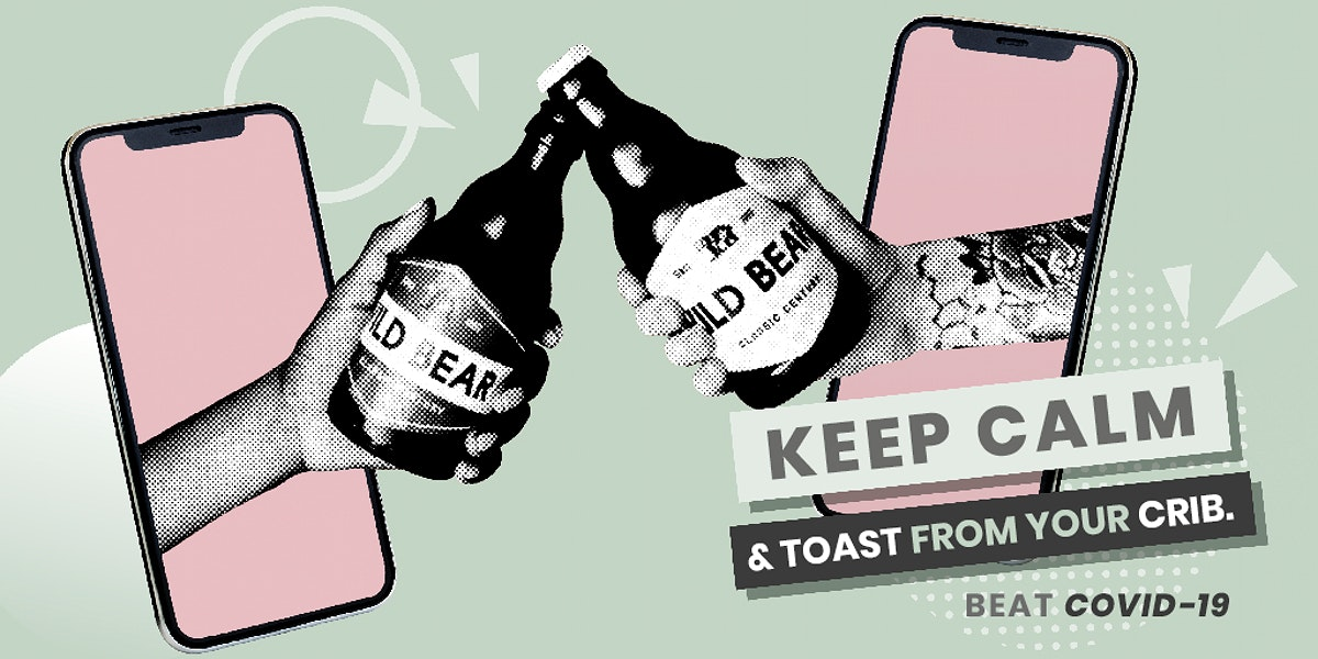 Keep calm and toast from your crib during coronavirus pandemic template mockup