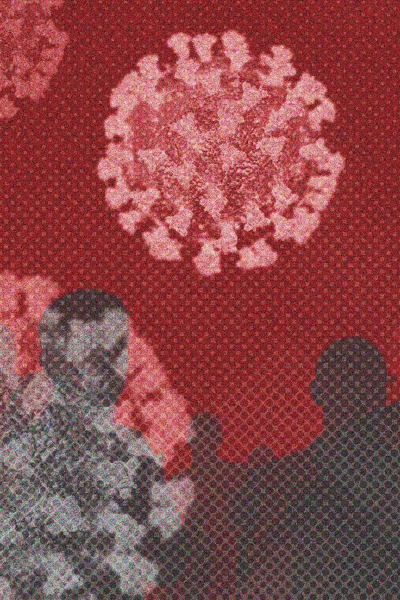 Transmission of corona virus on red background