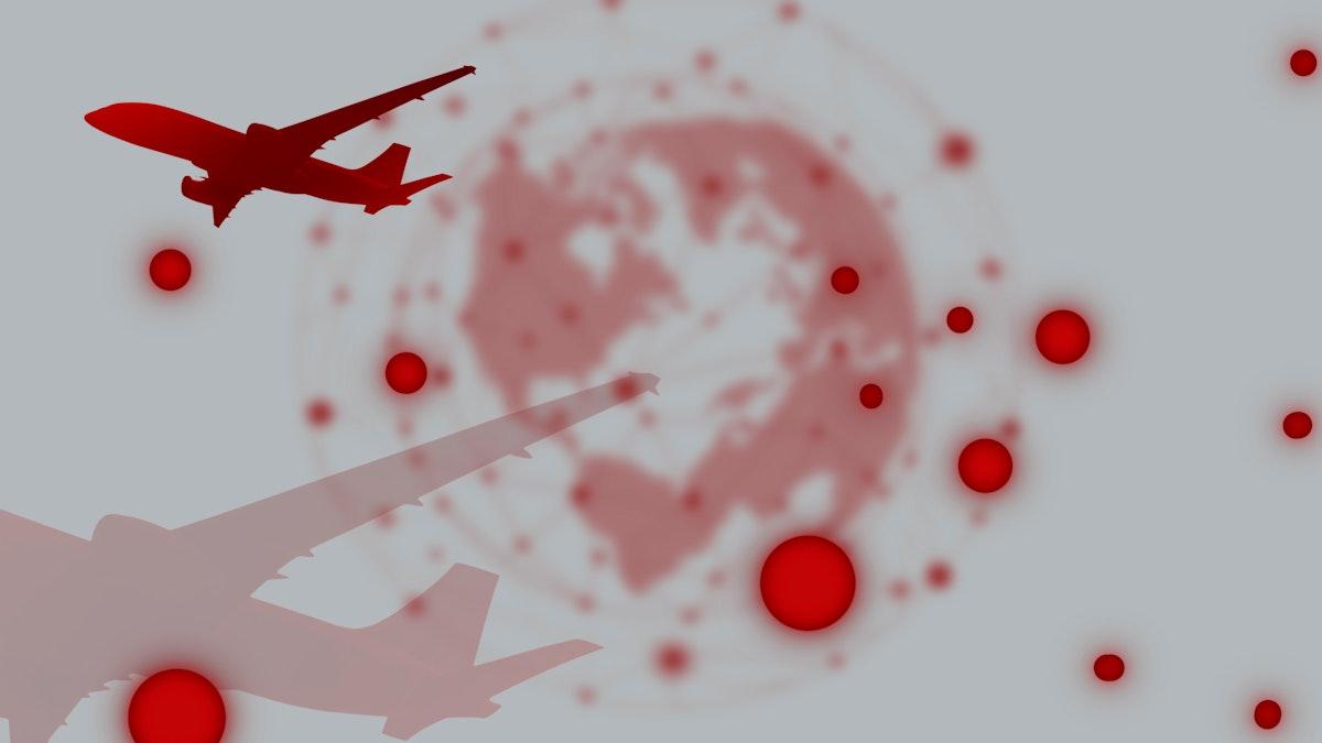 Travel ban during coronavirus pandemic social template illustration