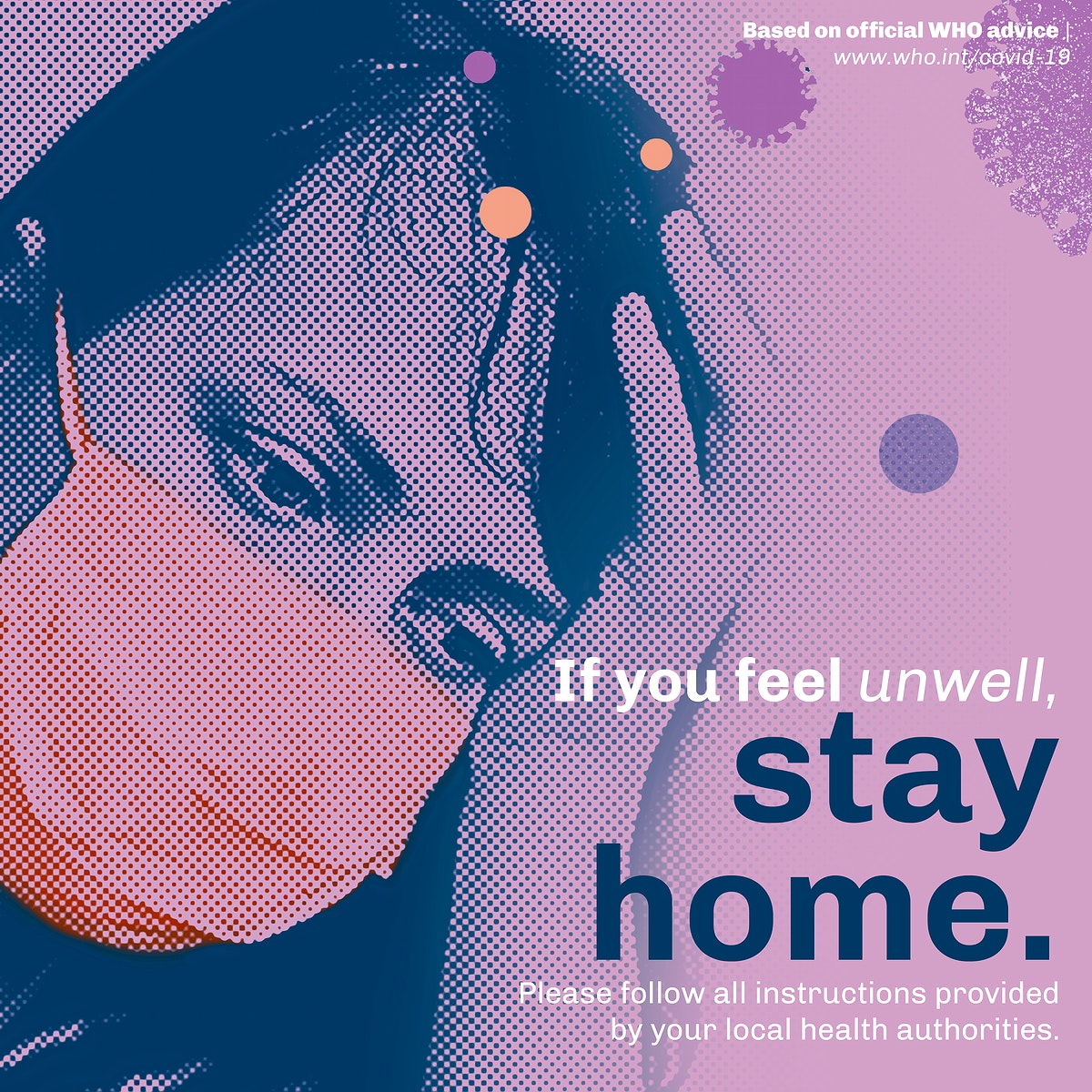 Stay home social template during coronavirus pandemic vector