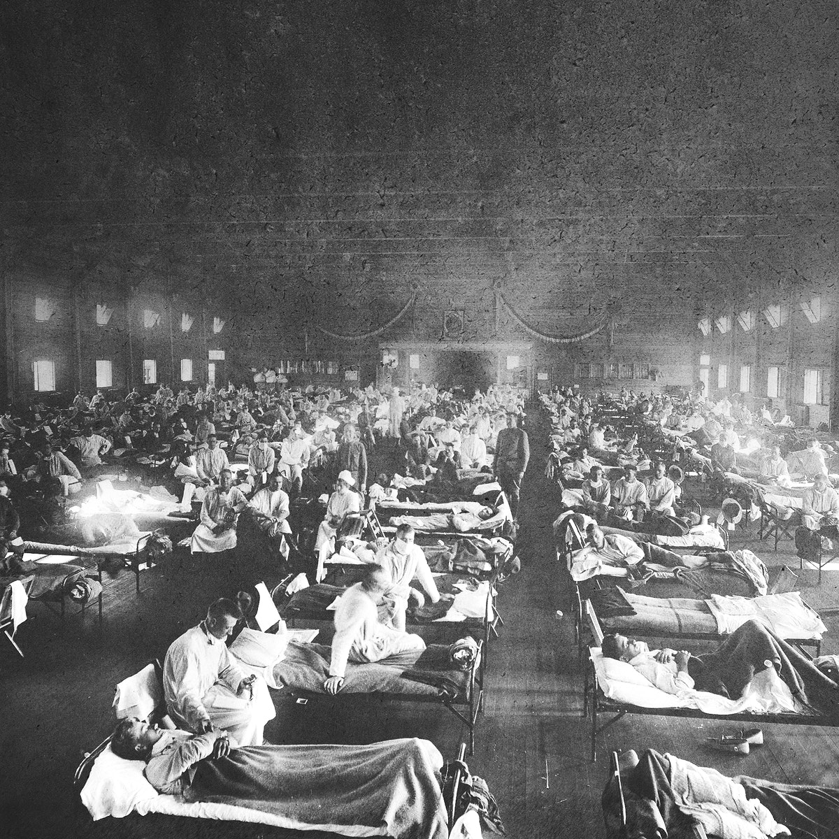 Historical photograph from the Spanish flu pandemic in Europe faded background