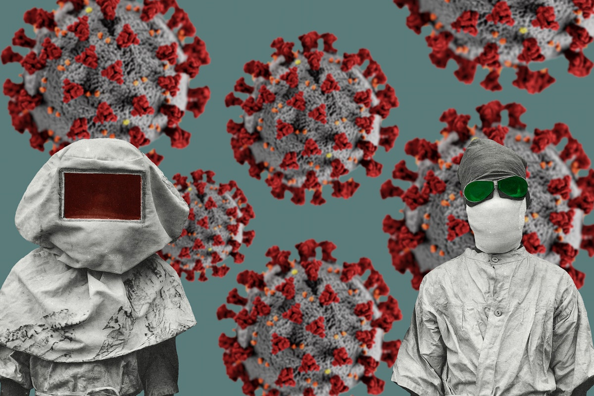 Vintage protective suits from the Spanish flu pandemic coronavirus contaminated background
