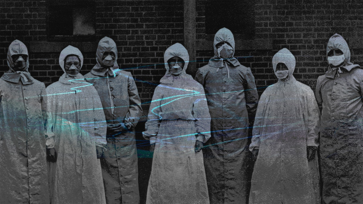 People in protective suits from the Spanish flu pandemic coronavirus contaminated background