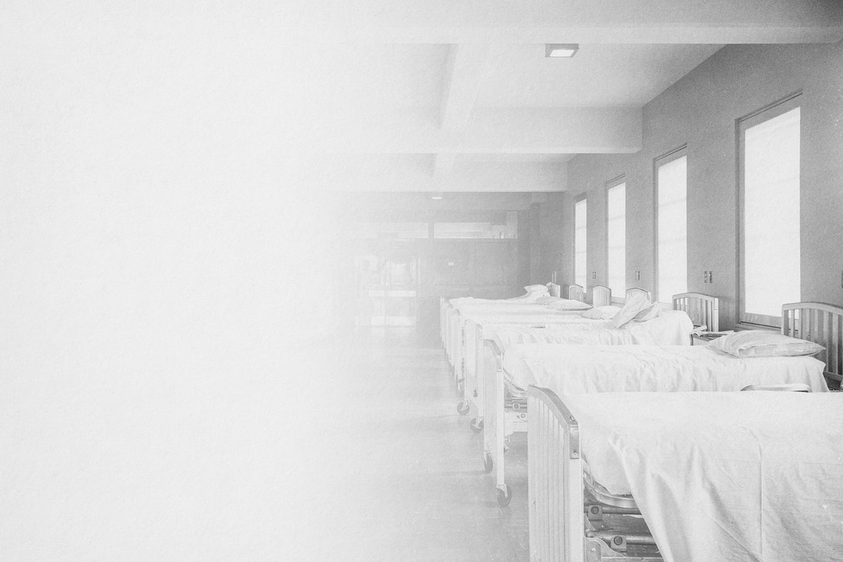 Historical photograph of a field hospital during the Spanish Flu Pandemic in Europe
