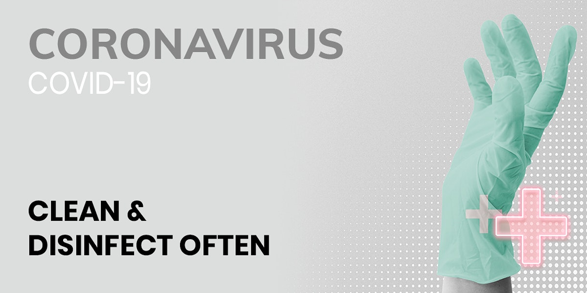 Clean and disinfect often during coronavirus pandemic template source WHO mockup