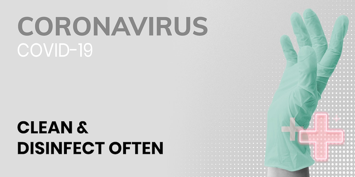 Clean and disinfect often during coronavirus pandemic template source WHO vector