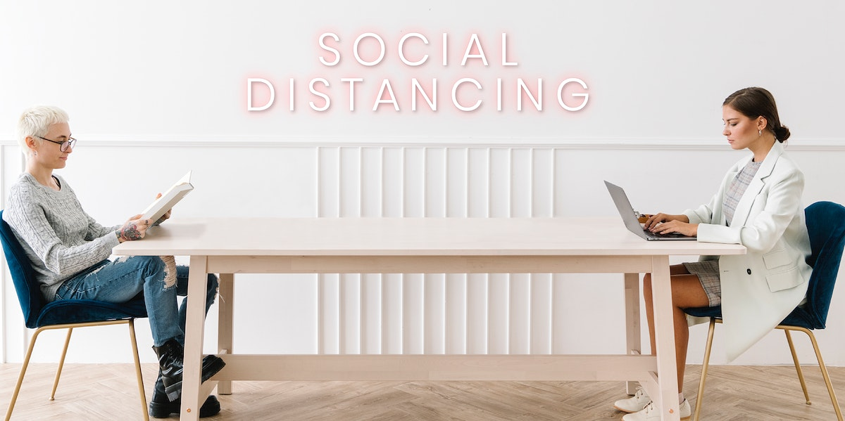 Couple social distancing at home vector