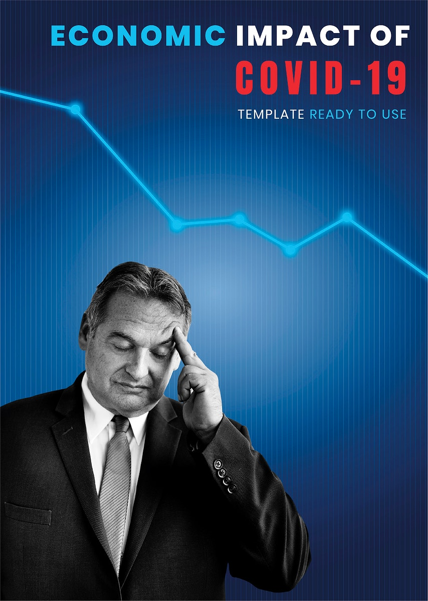 Economic impact of COVID-19 social template vector