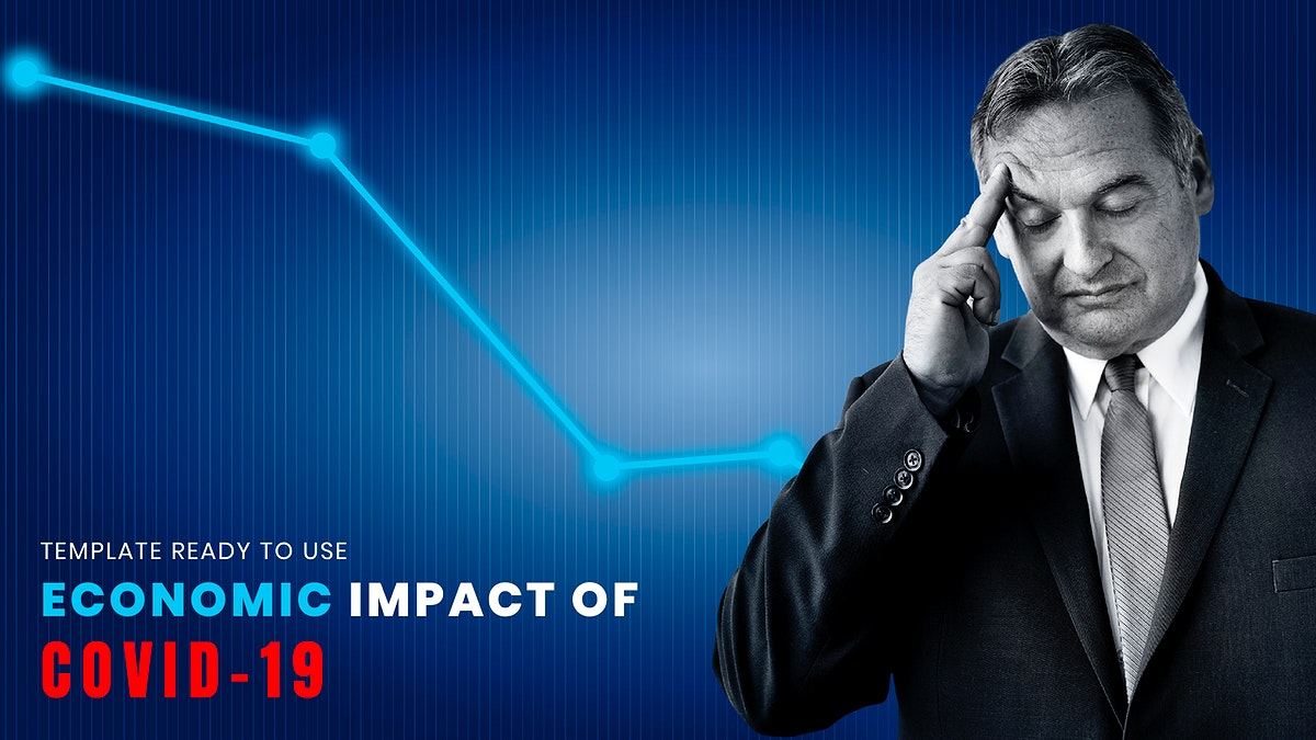 Economic impact of COVID-19 social template illustration