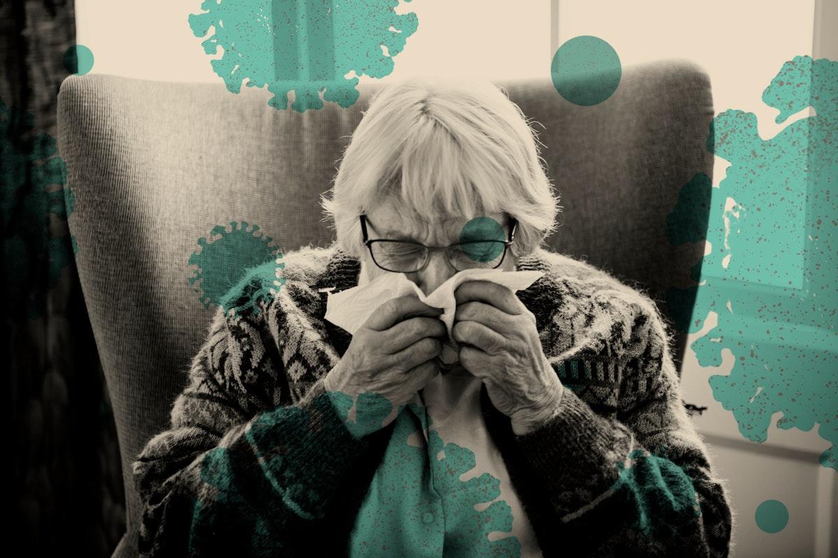 Elderly at risk woman showing coronavirus symptoms