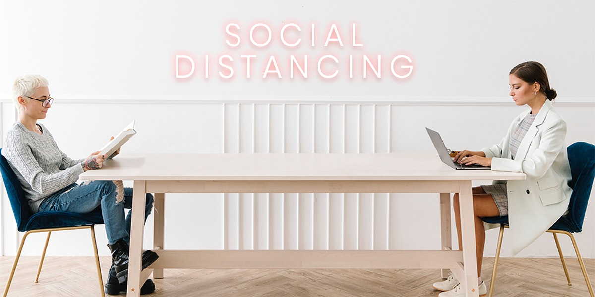 Couple sitting with a social distancing in a house mockup