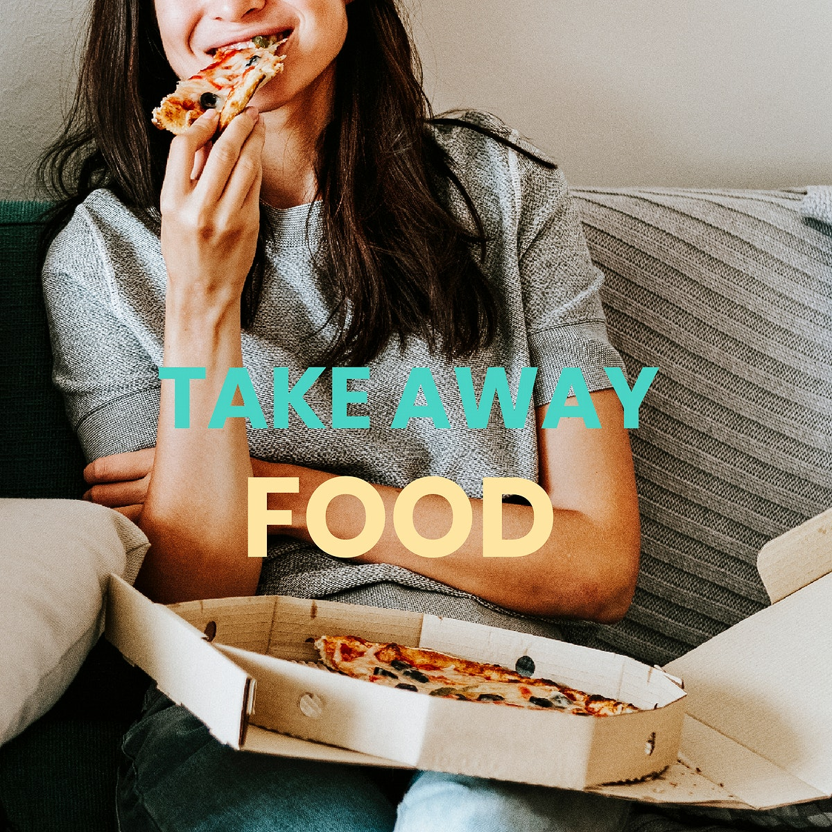 Woman eating takeaway pizza during coronavirus quarantine vector