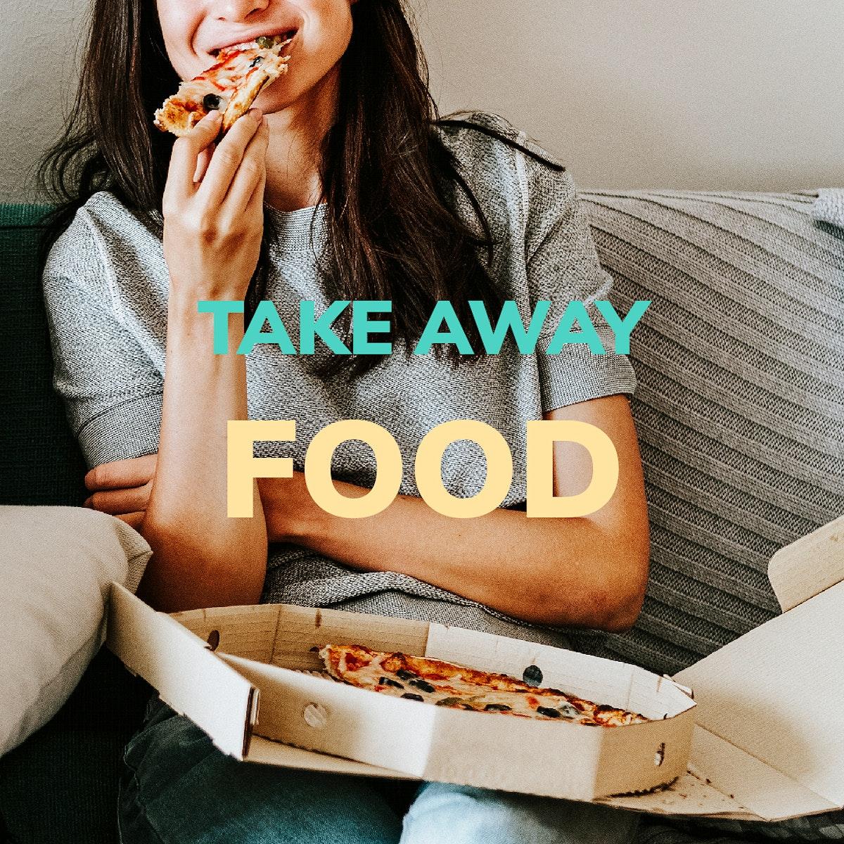 Woman eating takeaway pizza during coronavirus quarantine mockup