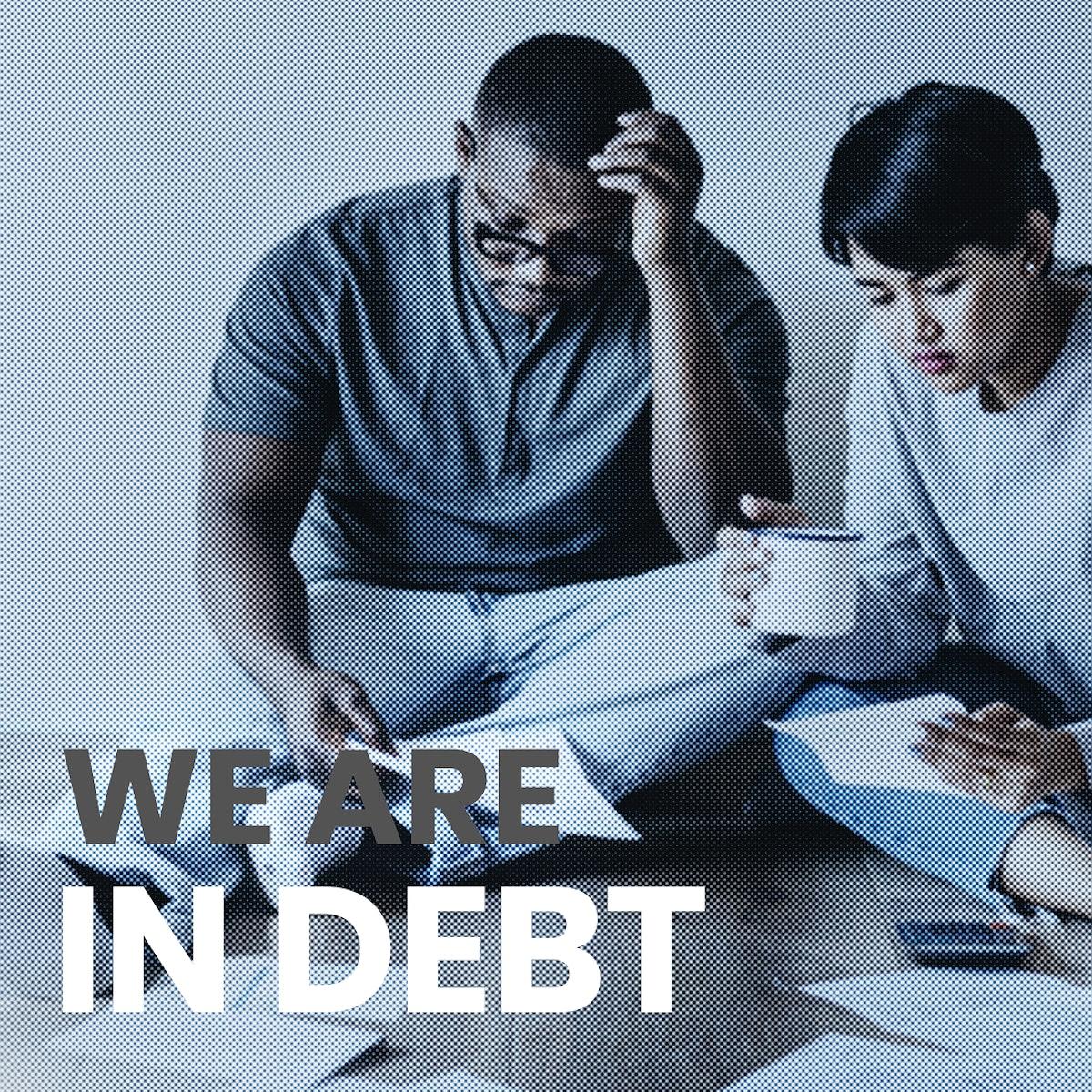 Couple managing the debt during coronavirus pandemic mockup