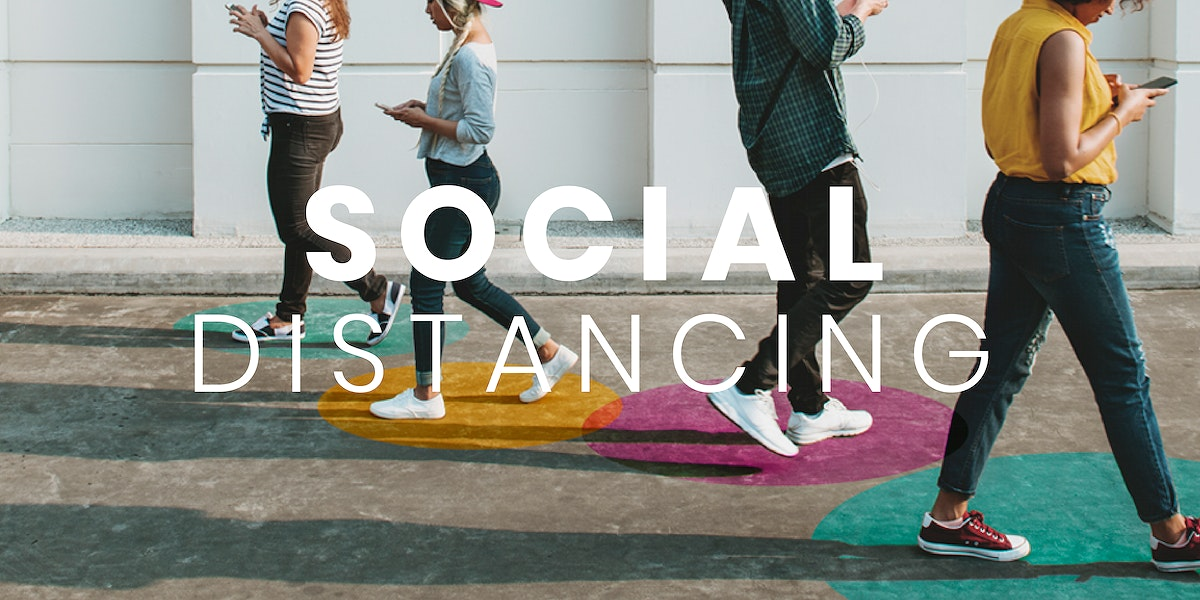 People walking with social distancing in public mockup