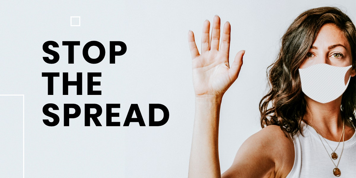 Stop the spread of coronavirus template mockup