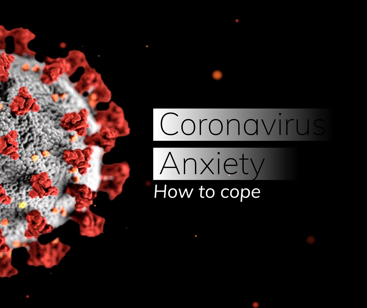 Coronavirus anxiety, how to cope template on a dark background vector