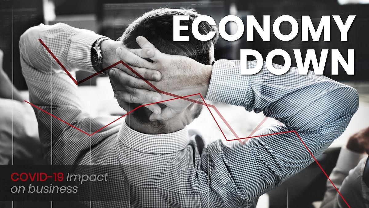 COVID-19 financial impact social template vector