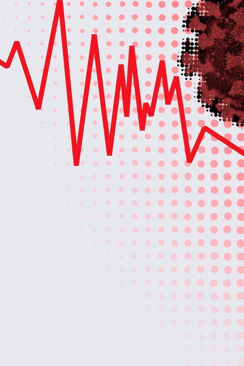 Economic impact and decrease due to coronavirus pandemic illustration