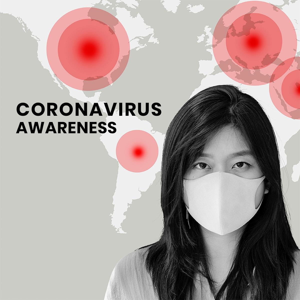 Coronavirus awareness social template mockup