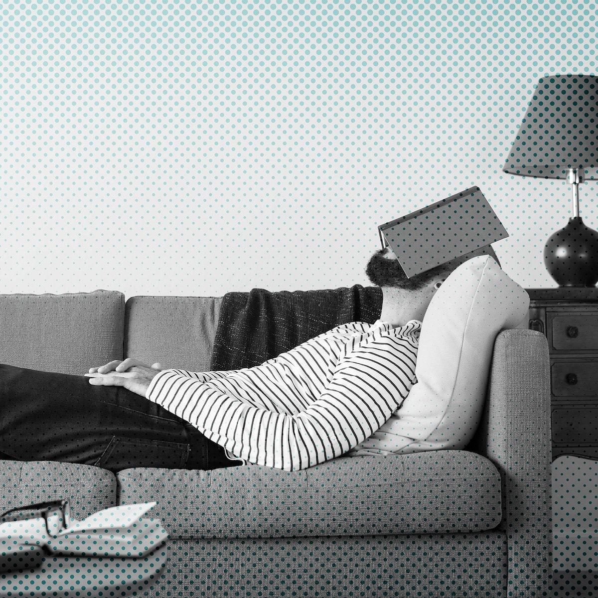 Man getting bored at home during coronavirus quarantine