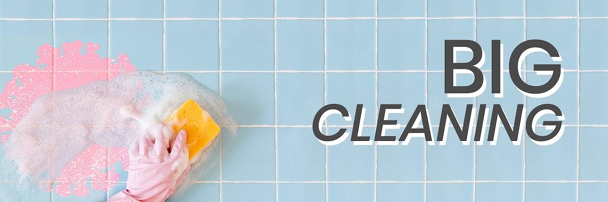 Big cleaning during coronavirus pandemic banner mockup