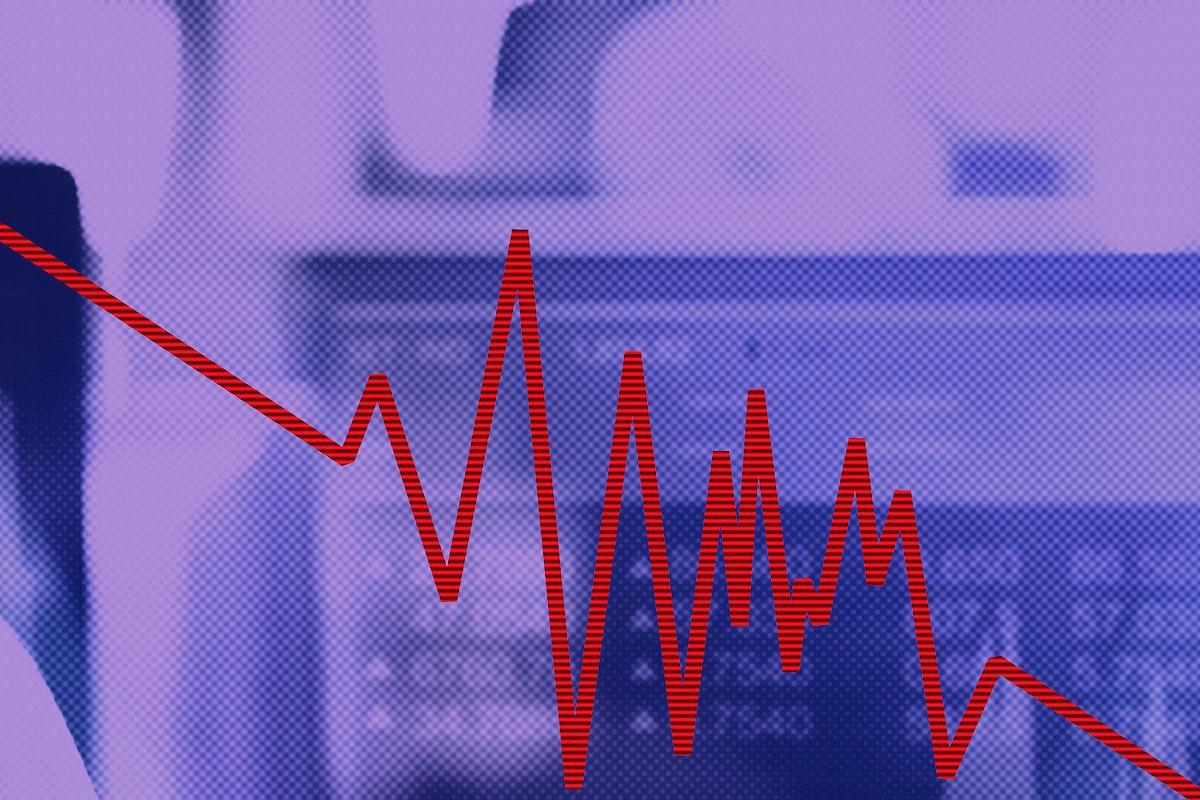 Economic impact and decrease due to coronavirus pandemic background illustration