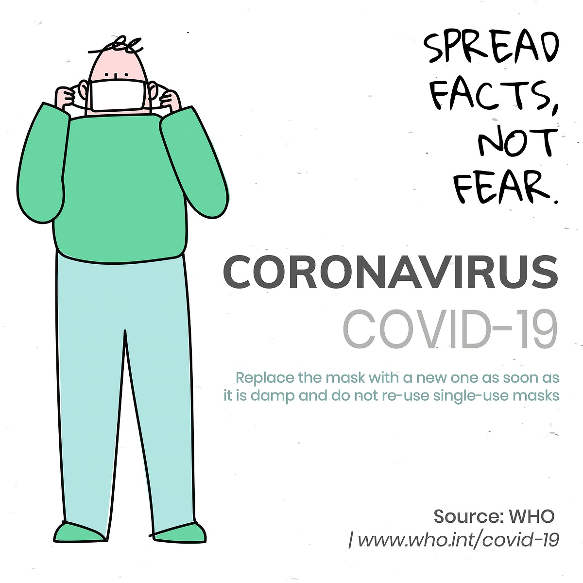Spread facts, not fear coronavirus pandemic social template source WHO vector