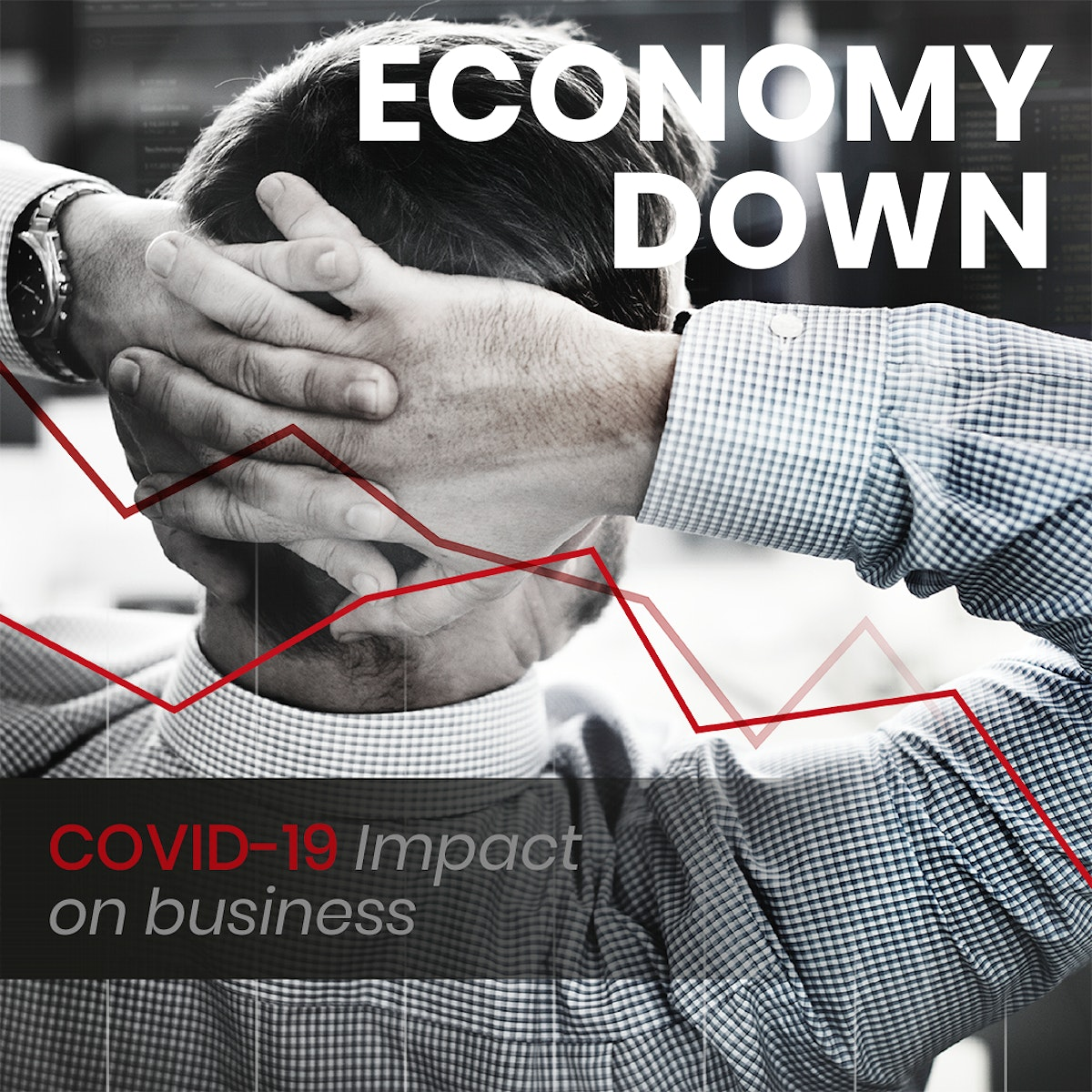 Economy down, covid-19 impact on business social banner template mockup