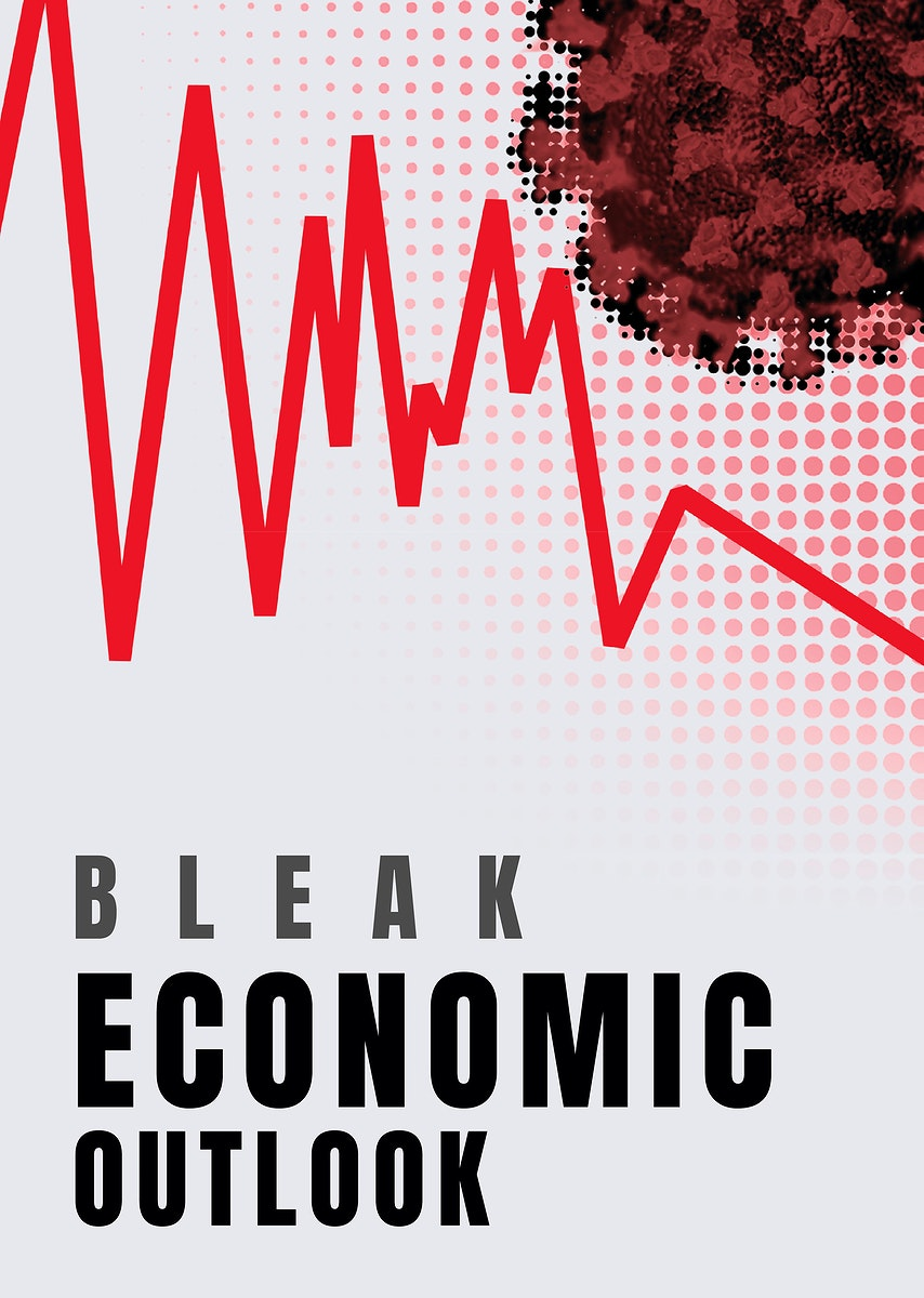 Bleak economic outlook social banner template vector