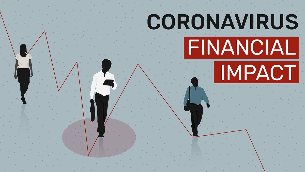 Coronavirus financial impact social template vector
