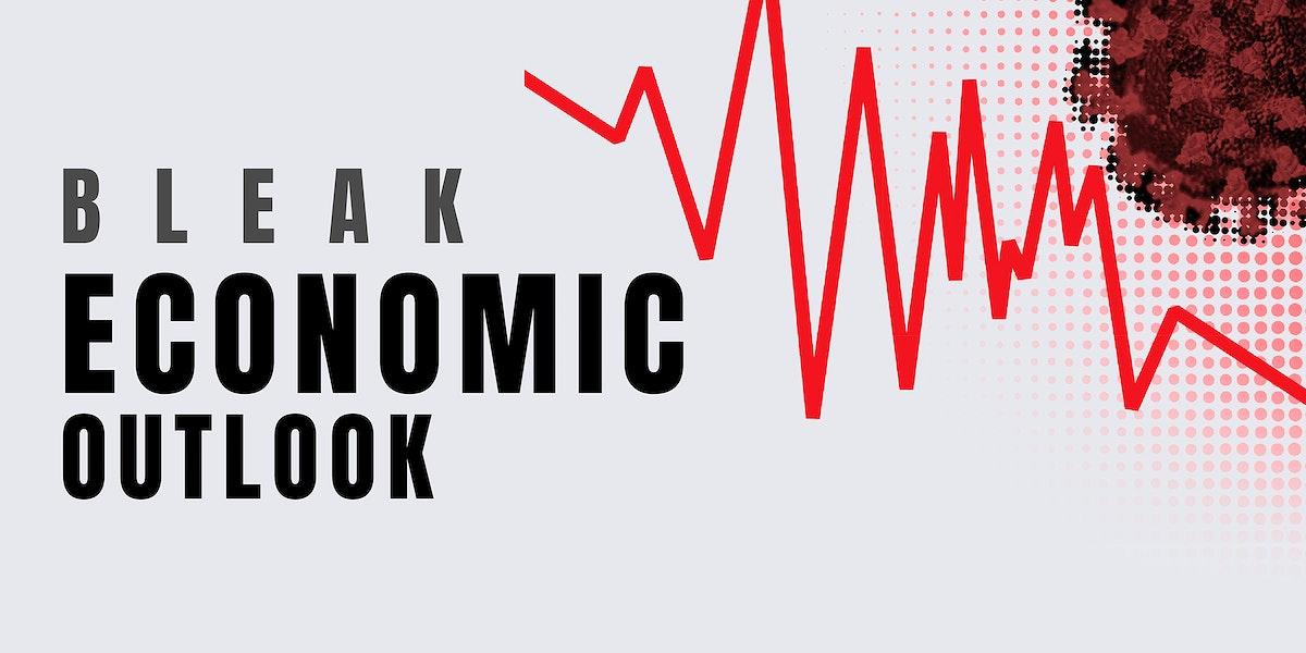 Bleak economic outlook due to the coronavirus social banner template vector