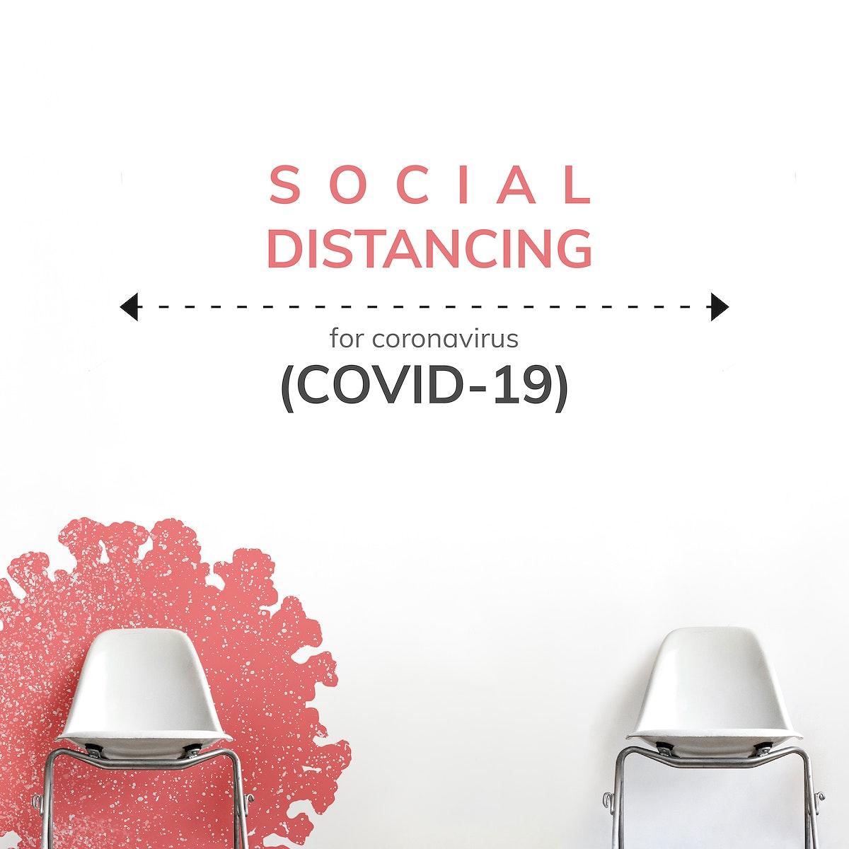 Social distancing during coronavirus pandemic social template vector