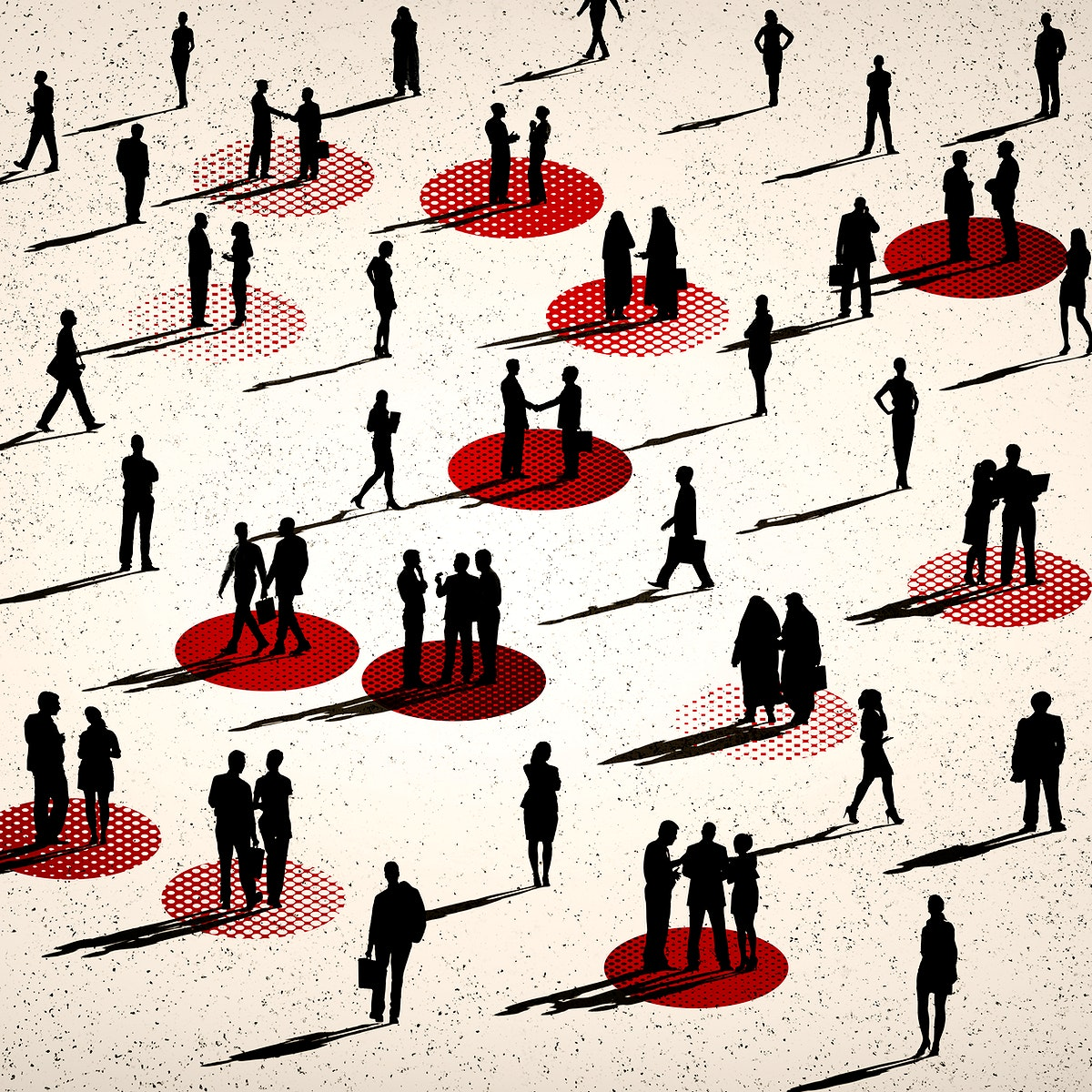People social distancing in public illustration