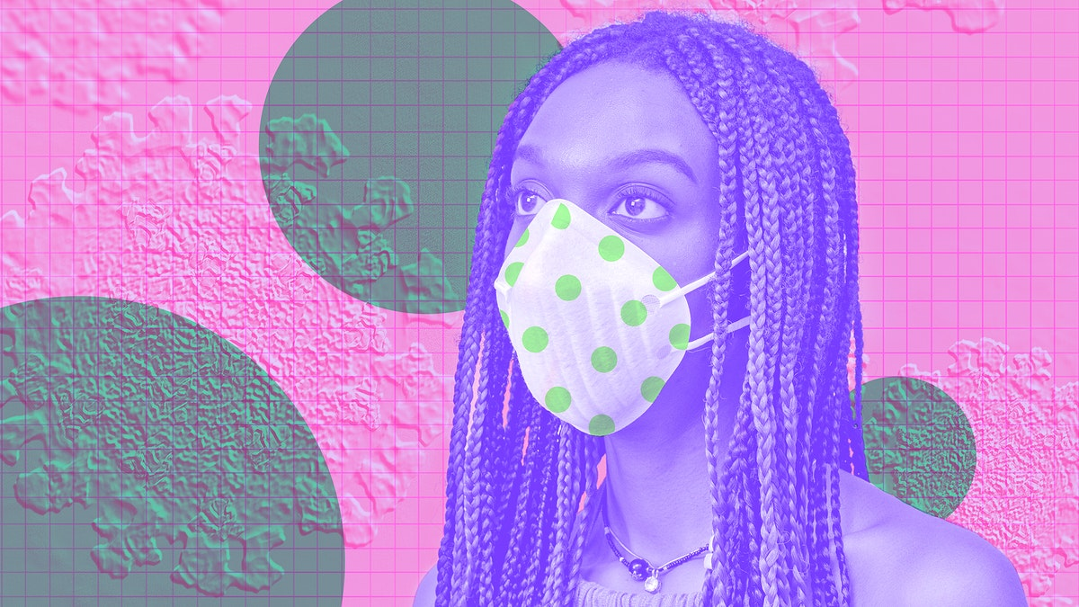 Woman wearing a face mask to prevent coronavirus infection background