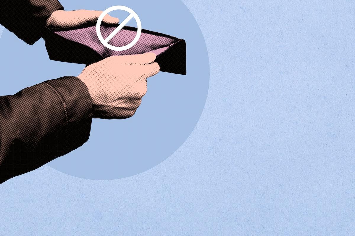 Empty wallet due to coronavirus economic impact background illustration