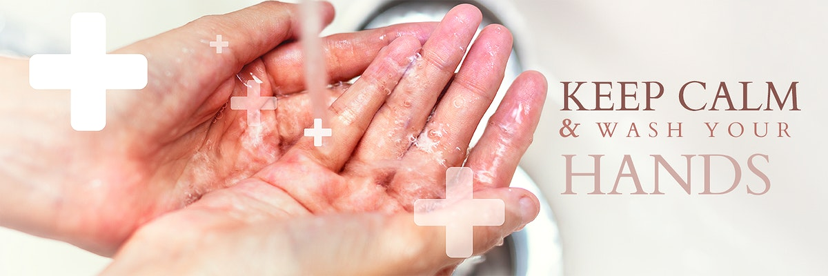Keep calm and wash your hands social banner template mockup